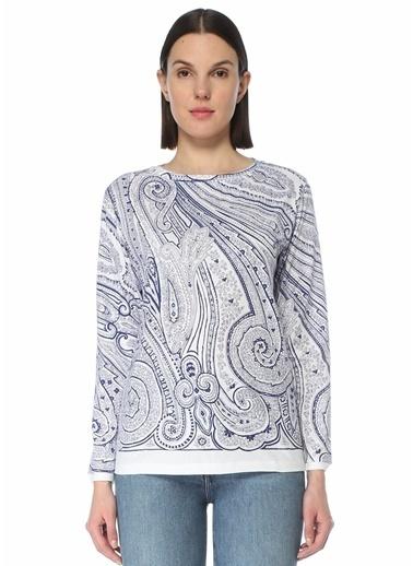 Etro Etro   Şal Desenli Uzun Kol T-shirt 101618006 Beyaz